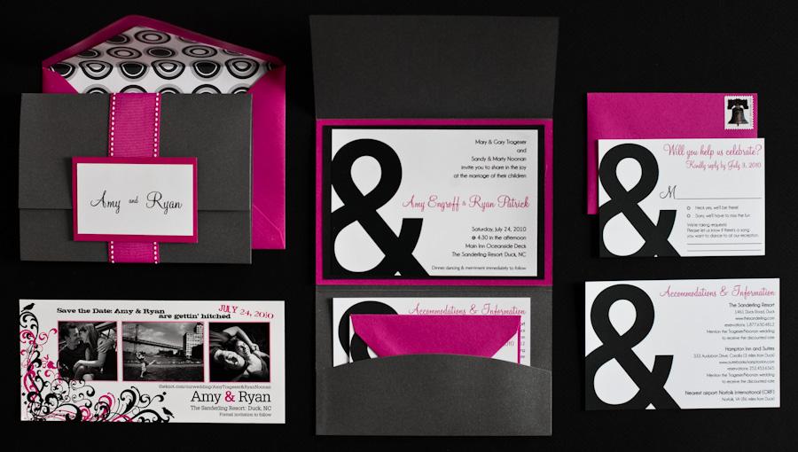 Wedding Invitations – Black White and Pink Wedding Invitations