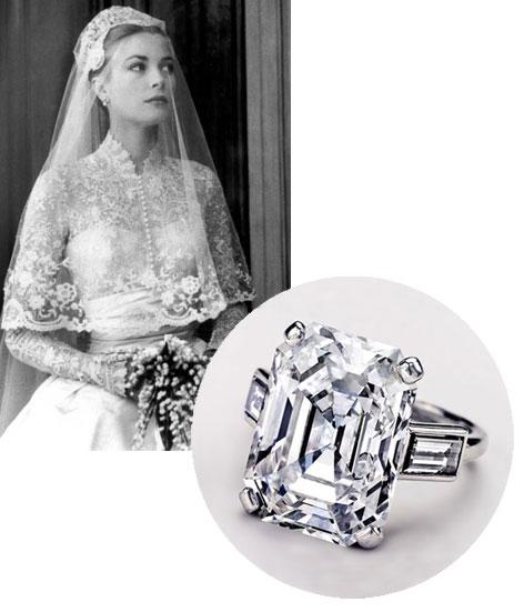 Grace Kelly's 10.47 Carat Emerald Cut Diamond Princess Diana Wedding Band