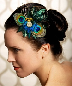 peacock bridesmaid headpiece