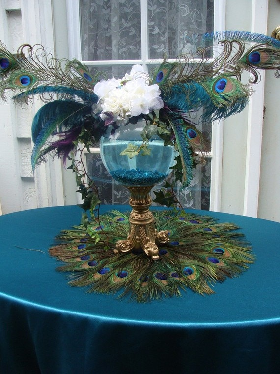 peacock guestbookorgift table