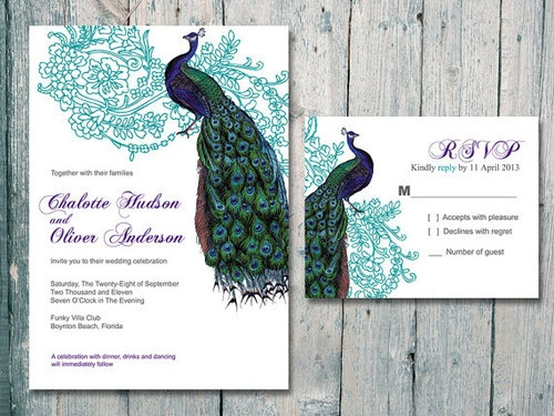 Wedding Peacock Invitations as best invitation example