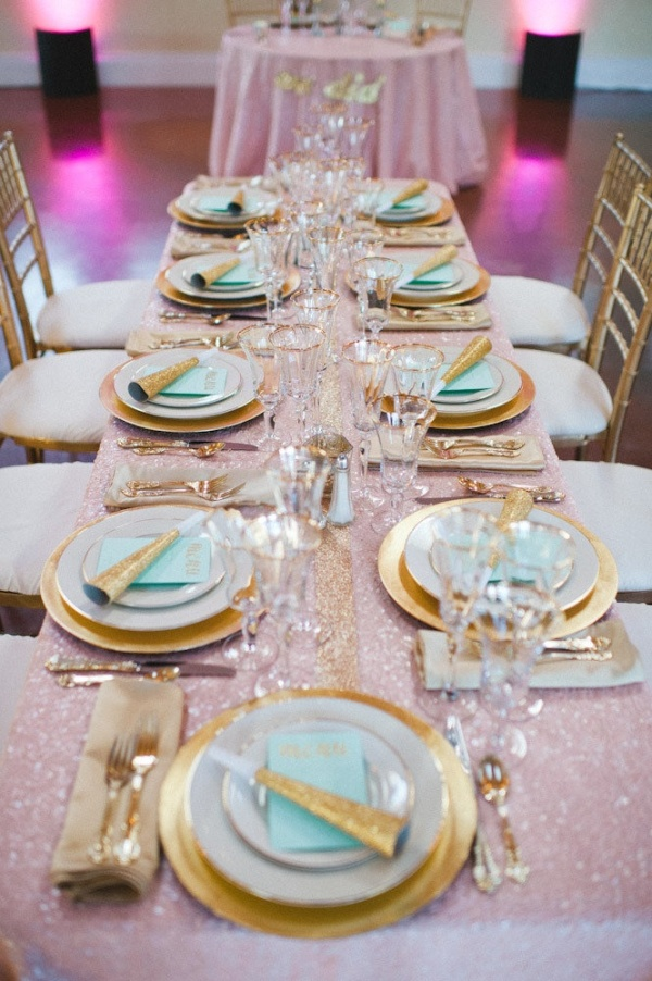 new years eve wedding in mint gold and blush