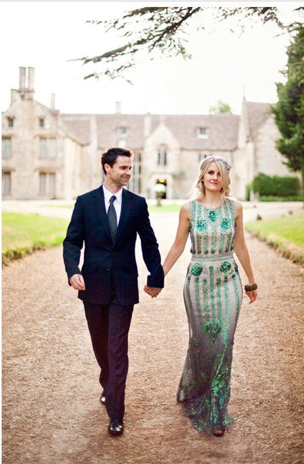 emerald-sparkle-wedding-dress caughtthelight 100 layer cake