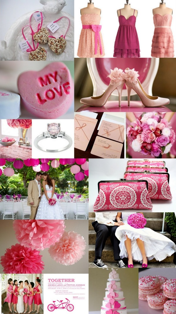 shades of pink valentines day wedding color inspiration board