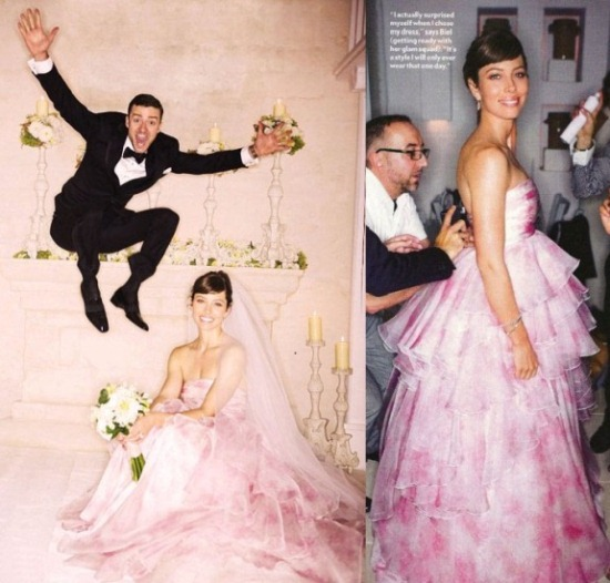 jessica biel pink wedding dress 1