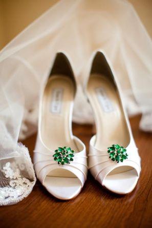 green embellished shoes