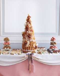 gay-wedding-planning-croquembouche-wedding-cake-macarons